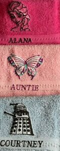 Embroidered design and name on face cloth, ,£4.45  inc P&P