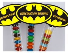 16 x Batman Personalised Lolly Tubes Bags Favours Kids Name Theme Party