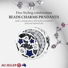 Stars 925 Sterling Silver Diamond Charm European Bracelet Ladies Pendant Jewel(I