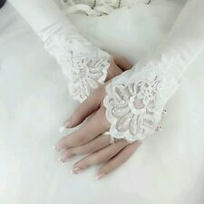 SALE Fingerless White Satin Pearl Embroided Wedding Lace Gloves Formal Bridal.