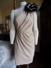 TRACY REESE Beige One Shoulder Feather Detail Cocktail Evening Sheath Dress 4