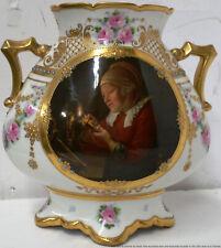 Antique Vienna Type Porcelain Candlelight Portrait Vase German Title Crown D