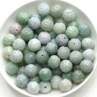10pcs Natural Green Jade Jadeite Women's Carved Loose Beads Pendant