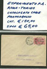 BUSTA REGNO 1917 AEROGRAMMA PER ESPERIMENTO TORINO ROMA CIRCOLO FILATELICO FOTO