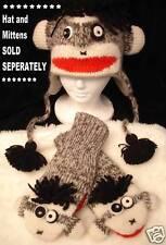 deLux TAG Punk Rock Sock Monkey HAT animal costume ADULT cap LINED gray black