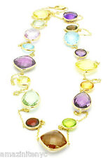 18K Yellow Gold Multi-Color and Multi-Shape Gemstone Necklace 36 Inches