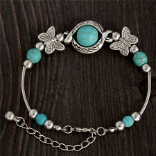tibetan silver and turquoise butterfly bangle bracelet bohemian beads