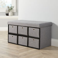 Grey Fabric Folding Ottoman 6 Drawer Storage Chest Solid Sturdy Space Saving