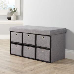 Grey Fabric Folding Ottoman 6 Drawer Storage Chest Solid Sturdy Space Saving
