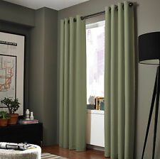 100% Blackout Panels Lined Backing Heavy Thick Grommet Bay Window Curtain 1 Set