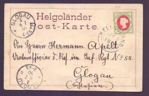 Helgoland Ansichtskarte Postkarte 1890 mit MiNr. 14 d nach Glogau (596)