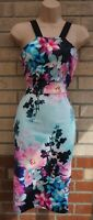 DOLLY & DANNYS GREEN MULTI COLOUR BLACK FLORAL BODYCON PENCIL SUMMER DRESS S M