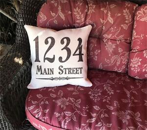 Custom Personalized Street Name Address Throw Pillow Case Sham Linen 15.5x15.5in