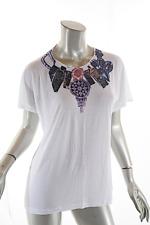 TOM BINNS White Multi Rayon Knit Tee Shirt w 'Jewelry' Print  OS  NWT   $165