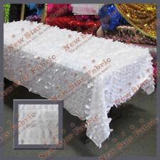 Tablecloth Rectangle Leaf Taffeta 55 X 108 White