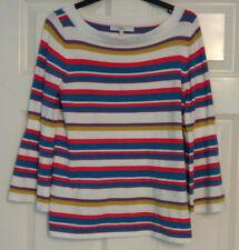 Next Ladies Long Sleeve Colour Block Stripe Cream Blue Red Jumper Size 10