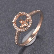 7.0MM Round Cut Solid 14K Rose Gold Natural Diamond Semi Mount Ring Setting