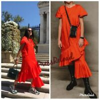 ZARA NEW RUFFLE ASYMMETRIC LONG DRESS SIZE XS