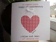 Handmade Personalised 2nd Wedding Anniversary Heart Card Cotton Second 2