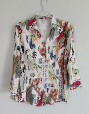 Tianelllo Japanese Asian Art Tencel Rayon Button Up Blouse Shirt Top 3/4 Sleeves