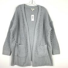 Style Co Womens Cardigan Sweater Size 0X Gray Chenille Open Front 454