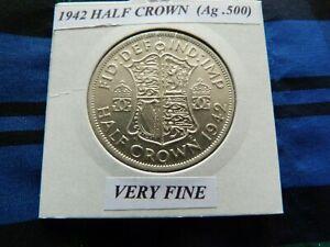 VERY FINE? 1942 HALF CROWN  (Ag .500)  George VI pre 1947
