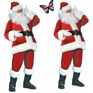Santa Claus Costume Father Christmas Mens Suit Adult Fancy Dress Xmas Outfit UK