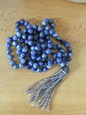 Free Shipping Long Knot Blue sodalite Beads Crystal Tassel Necklace Handmade