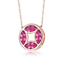 18ct Rose Gold Stunning Natural Tourmaline and Diamonds Pendant 1,90 carats