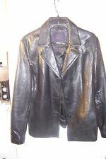 212 america womens leather black jacket size large buttons rip 1 1/2 INC looki-c