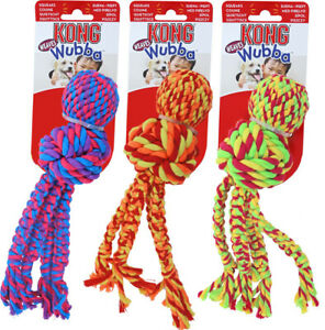 KONG Wubba Weaves with Rope Dog Toy Squeaky Cleans Teeth during Play S, L, XL