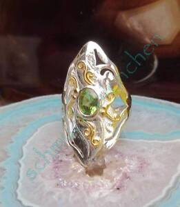 Rx Ring Silver 925 Two Colored Jugendstilornament Peridot Green Stone Des August