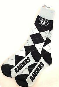 Oakland Raiders Argyle Socks NFL Team One Size Comfy Pair Socks Fast Shipping