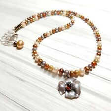 CHERRY AMBER FLOWER PENDANT, FRESHWATER PEARL STERLING SILVER NECKLACE
