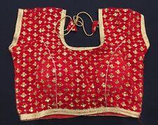 """38"""" M Designer Saree Blouse Indian Bollywood Sari Choli Red Gold Brocade AA15"""