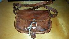 Vintage Canvas RealGoat Leather Messenger Shoulder Bag Travel Satchel