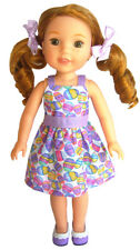 """For 14.5"""" American Girl Wellie Wishers Doll Clothes Easter Egg Dress"""