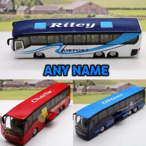 PERSONALISED NAME Boys Toy Diecast Coach Opening Doors Boxed Present 3 COLOURS