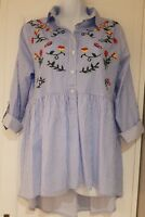 Womens Blue White Stripe Embroidered Boho Smock Tunic Blouse High Low Hem 10 vgc
