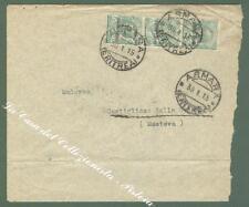 Storia postale. COLONIE ITALIANE, ERITREA. Striscia di tre del cent. 5 verde...