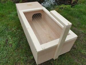 Tortoise reptile table house with ramp holder and mesh lid hide shelter run den