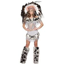 Adult Woman Costume Sexy Indian Native American Outfit Gray Size Medium 3 Pc Set