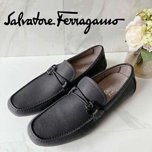 Salvatore Ferragamo Front 4 Driving Shoes Loafer Gancini Bit Black Leather 12 E