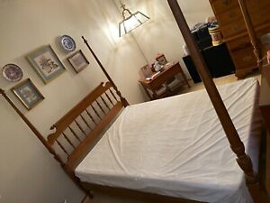 bed frame full maple wood with canopy posts