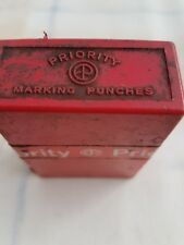 VINTAGE PRIORITY METAL 2.5mm  - 0-9 NUMBER MARKING PUNCHES (ENGLAND).
