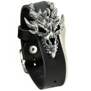 Alchemy Gothic Dragon Skull Leather Wrist Strap Bracelet Fantasy A137 Men's