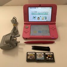 Pink Nintendo 3DS XL Console / 4 x Stylus / 3 Games / Charger Bundle - Tested