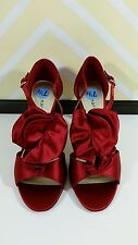 "NEW Sz 7.5 Red Satin Dress Shoes Ruffle 3"" Spiked Heel Stilettos Party Prom"