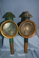 paire de lanternes anciennes de fiacre charrette diligence carrosse