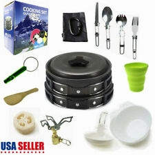 18x/Set Portable Outdoor Camping Cookware Kit Picnic Hiking Cooking Equipment US